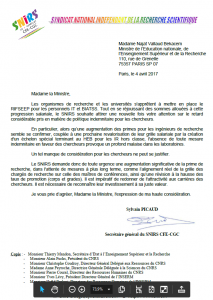 Le SNIRS écrit au ministère au sujet des primes chercheurs